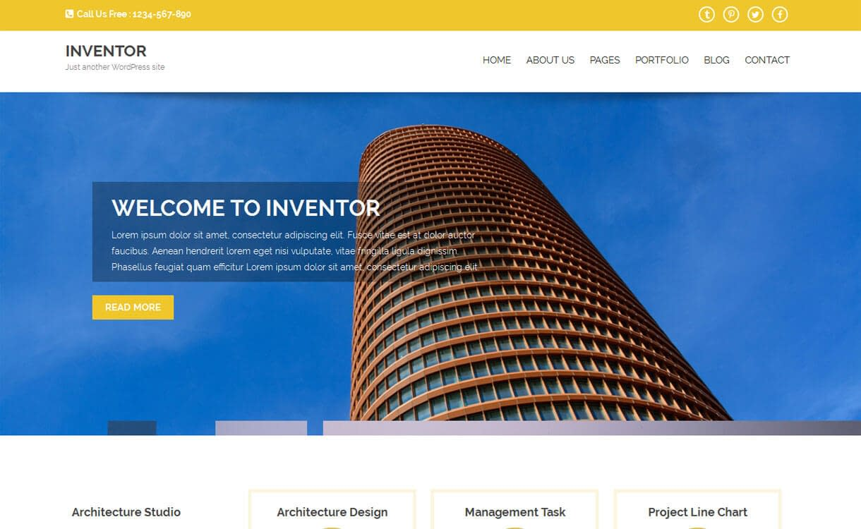Inventor - Best Free WordPress Construction Company Themes 2017