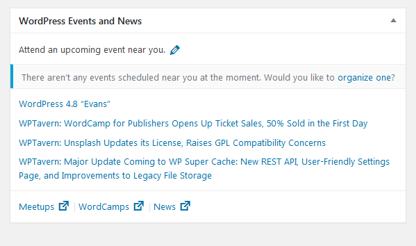 WordPress News and Events on Dashboard