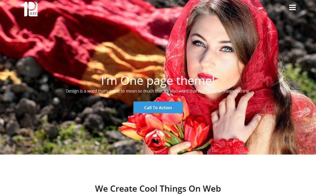 One Paze - Best Free One Page WordPress Themes 2018