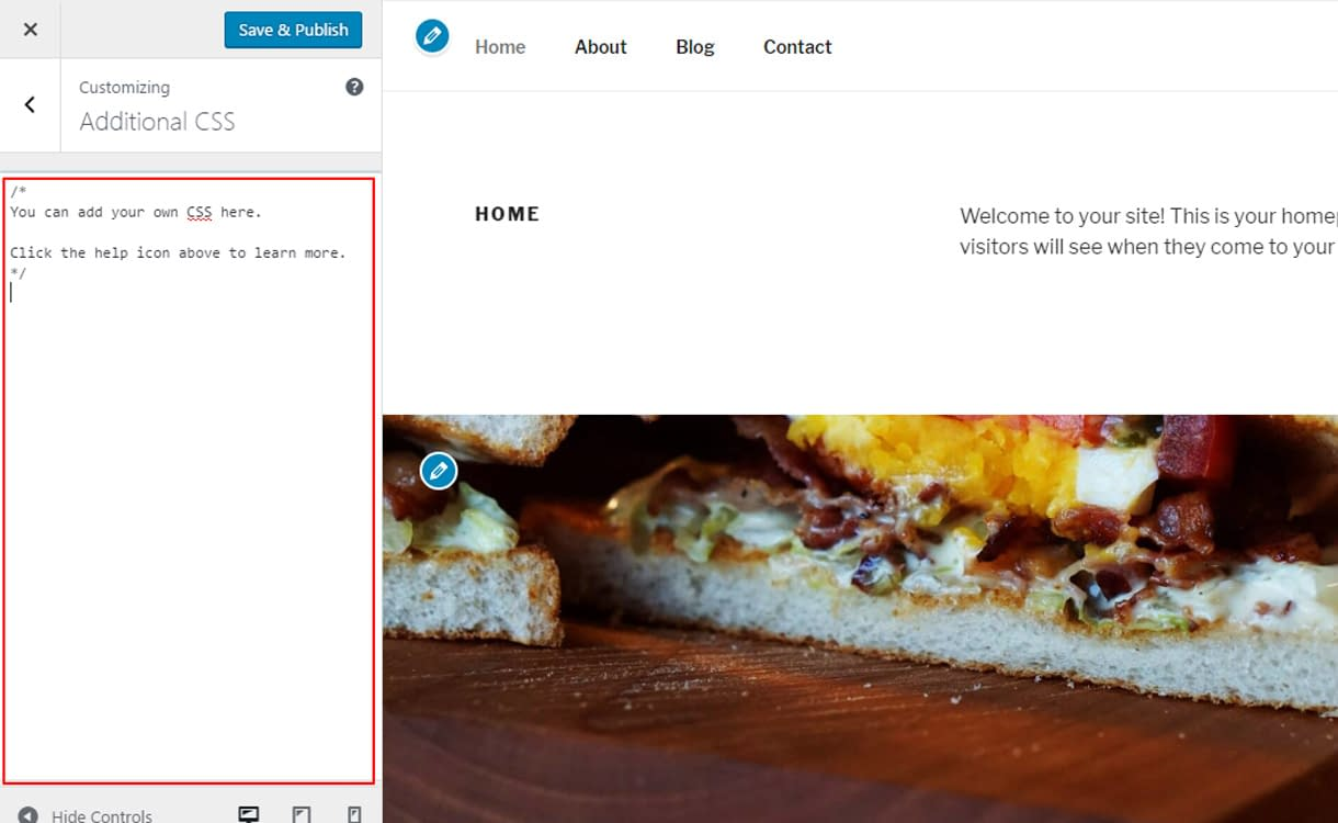 WordPress 4.7 feature - add custom css with live preview