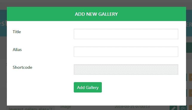 Everest Gallery Lite: Add New Gallery