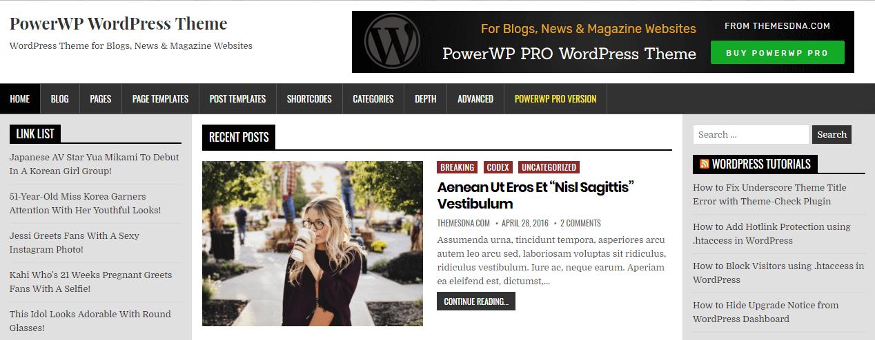 PowerWP-Best Free WordPress Themes June 2018