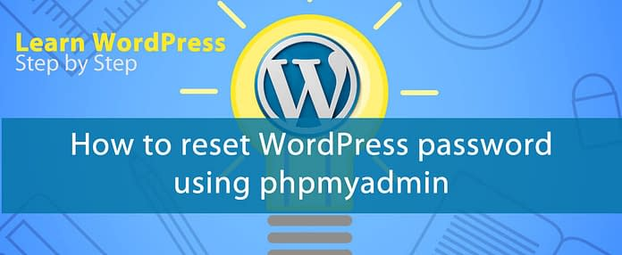 how to reset password using phpmyadmin