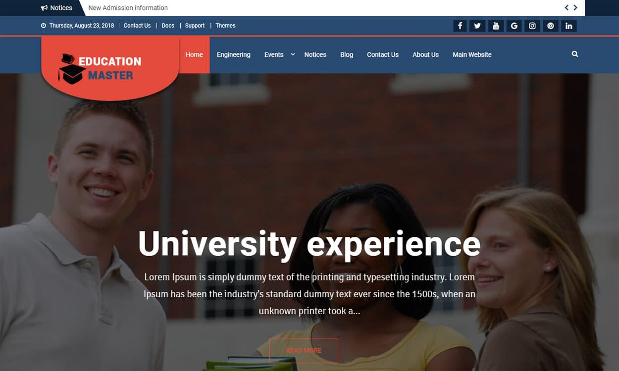 Education Master - Best Education School College WordPress Themes and Templates (Free)