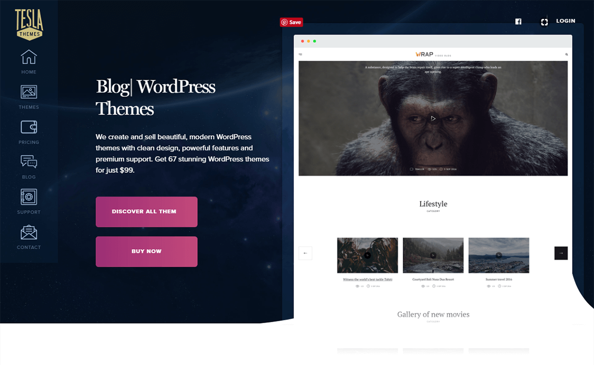 Discount on WordPress Themes by Tesla Themes