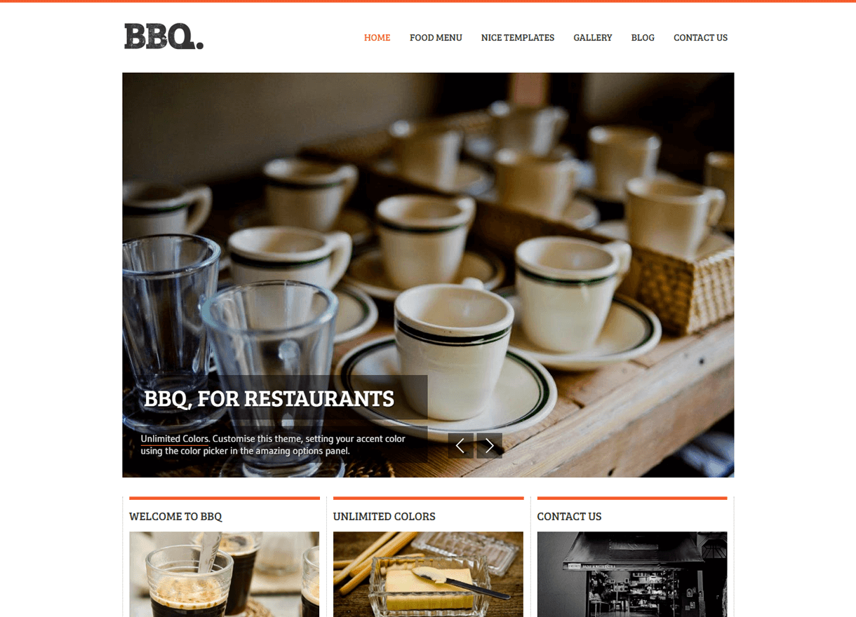 BBQ-Best Cafe and Restaurant WordPress Themes