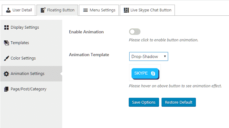 Ultimate Contact Button: Animation Settings