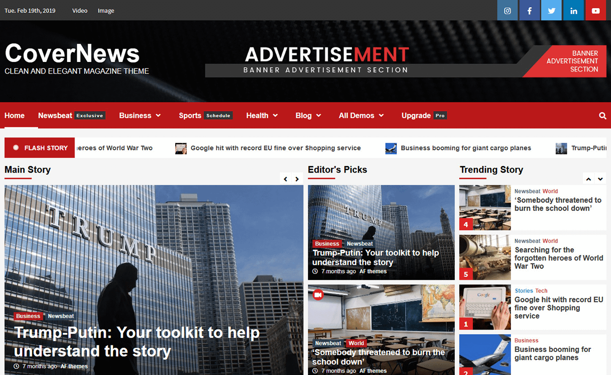CoverNews - Best Free News Magazine WordPress Themes
