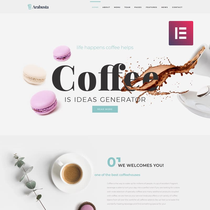 Arabusta - Coffeehouse Elementor WordPress Theme