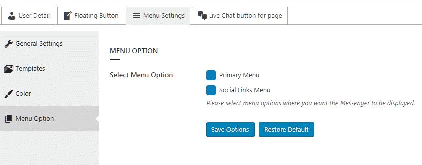 Ultimate Contact Button: Menu Option