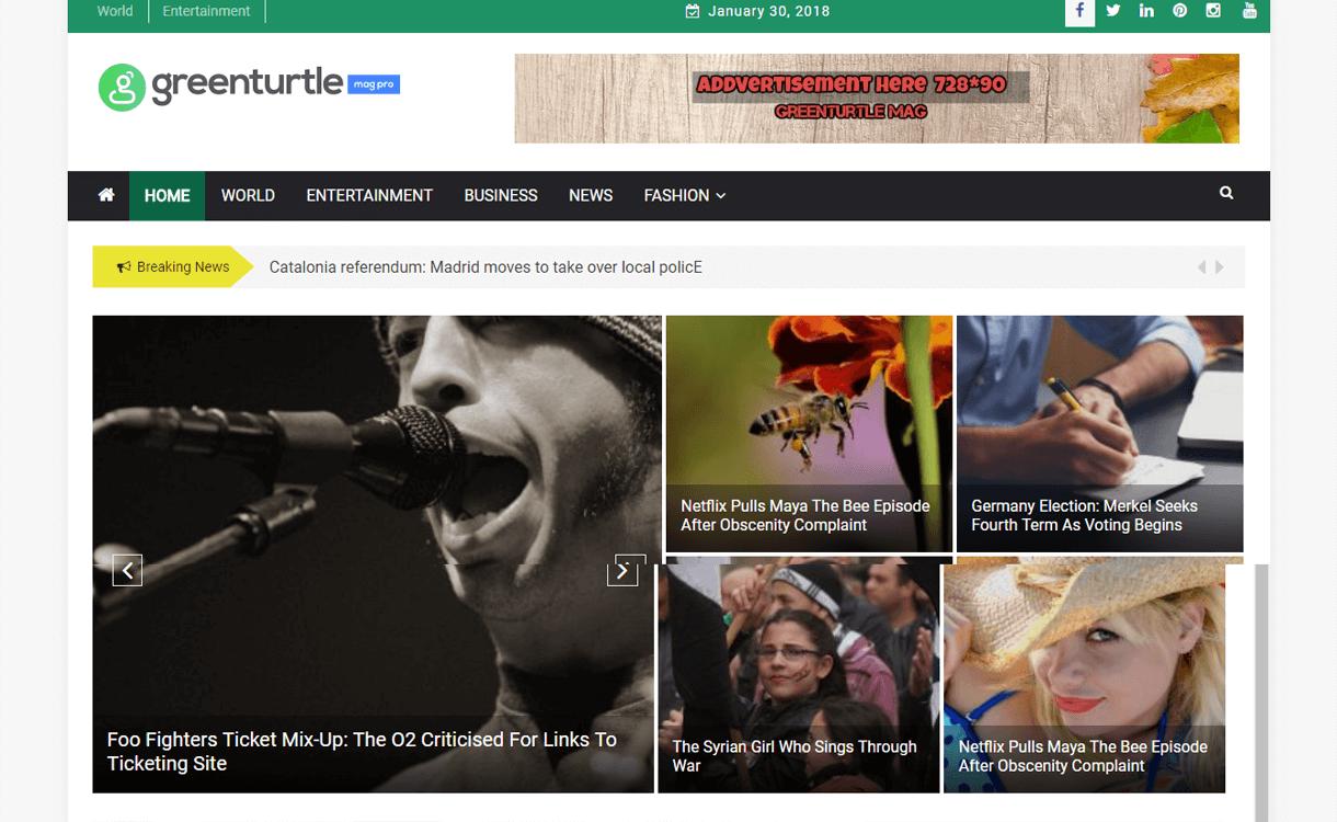Greenturtle Mag-Best Free WordPress Theme January 2018