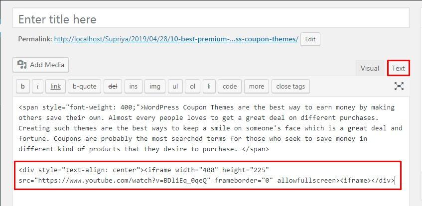 Center Align a Video in WordPress