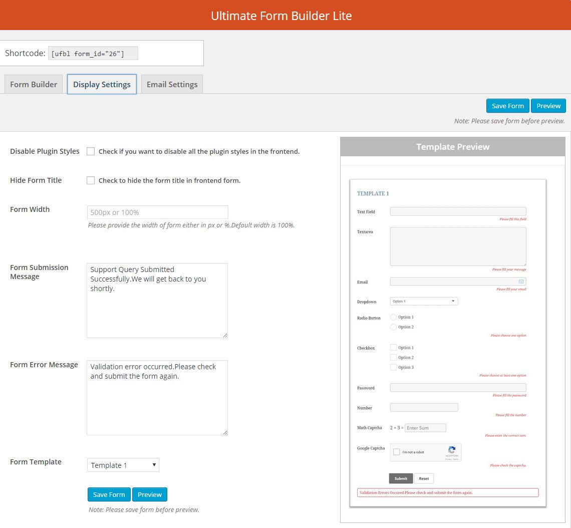 Ultimate Form Builder Lite: Display Settings