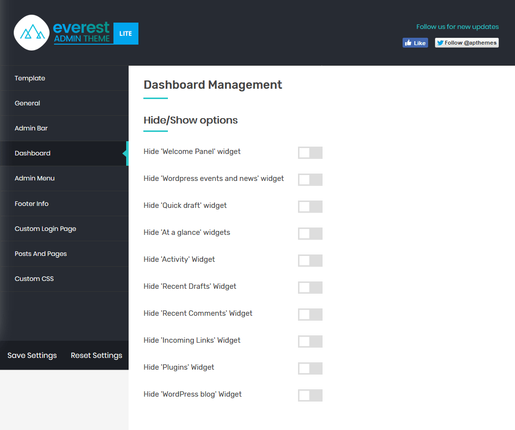 Everest Admin Theme: Dashboard