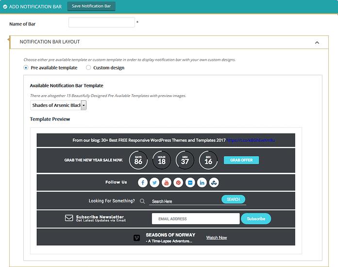 Apex Notification Bar: Notification Bar Layout