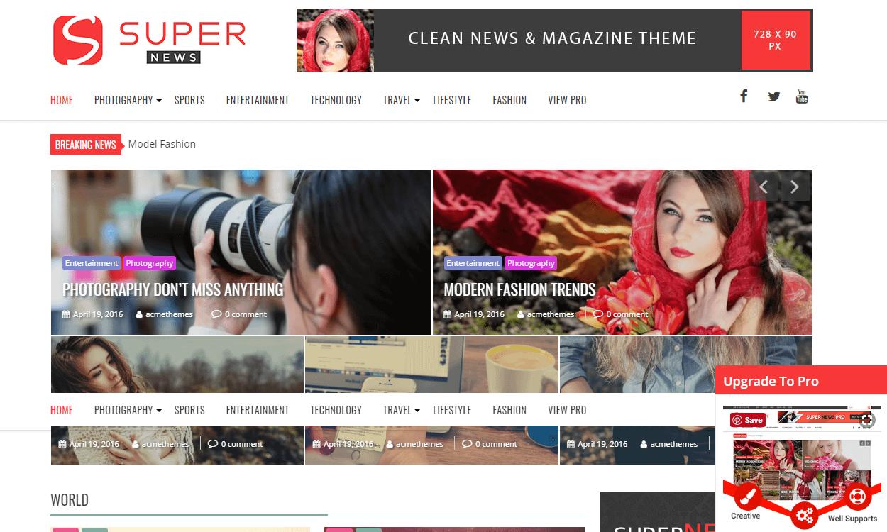 SuperNews - Best Free WordPress News-Magazine/Online Editorial Themes
