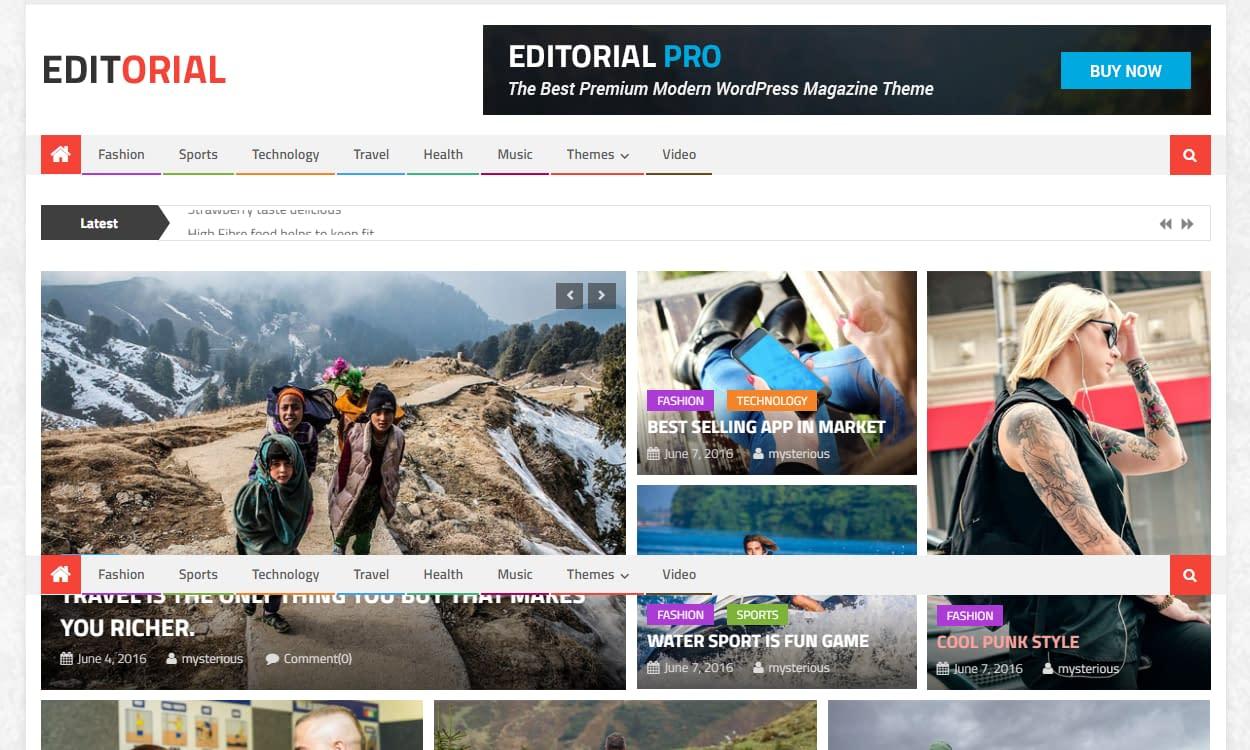 Editorial - Best Free WordPress News-Magazine/Online Editorial Themes