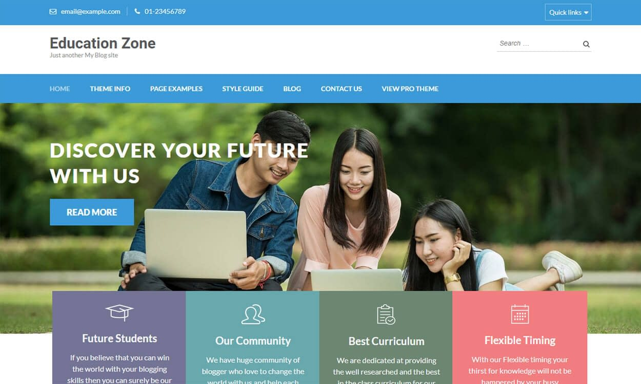 Education Zone - Best Education School College WordPress Themes and Templates (Free)