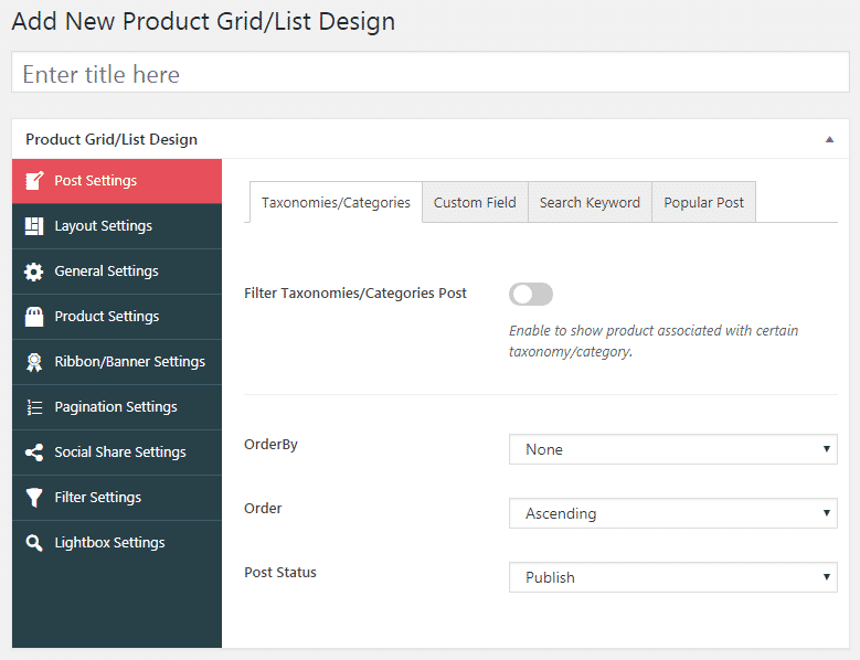WOO Product Grid/List Design: Builder Page