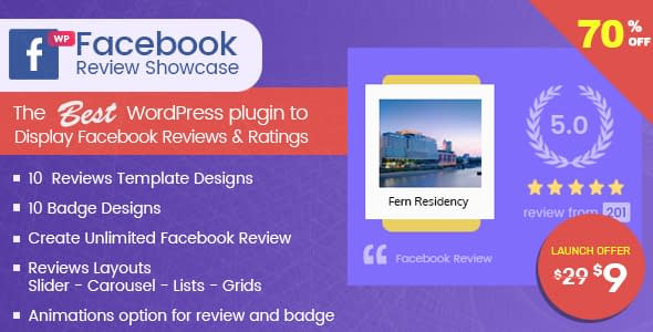 70% Off in WP Facebook Review Showcase – Facebook Page Review Plugin