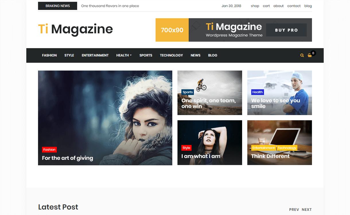TiMagazine-Best Free WordPress Theme January 2018