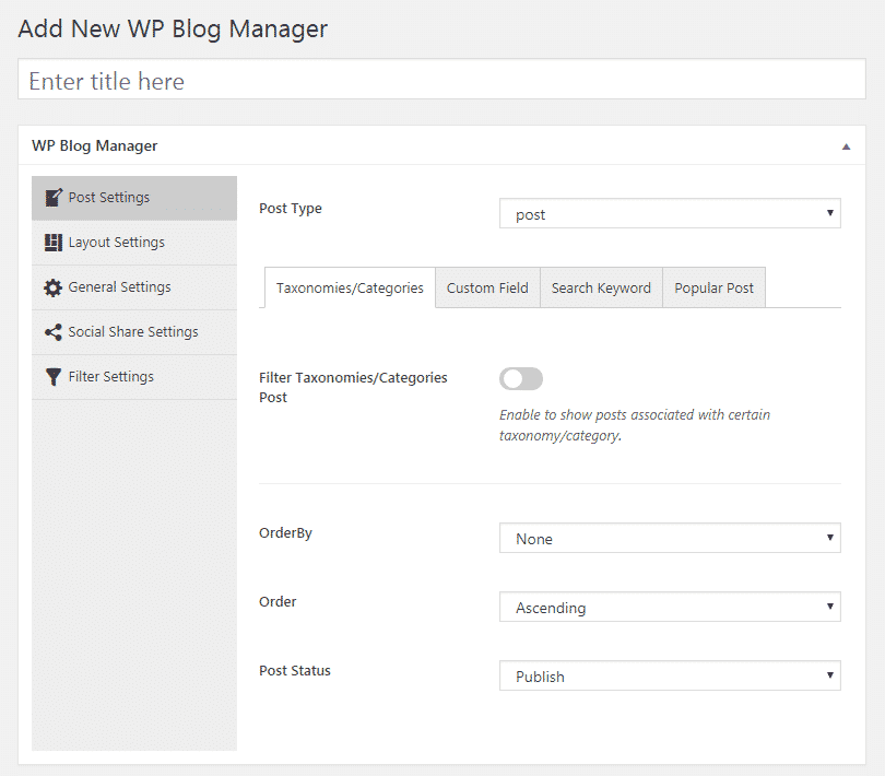 WP Blog Manager - Post Settings