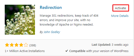 Adding plugin to redirect link in WordPress