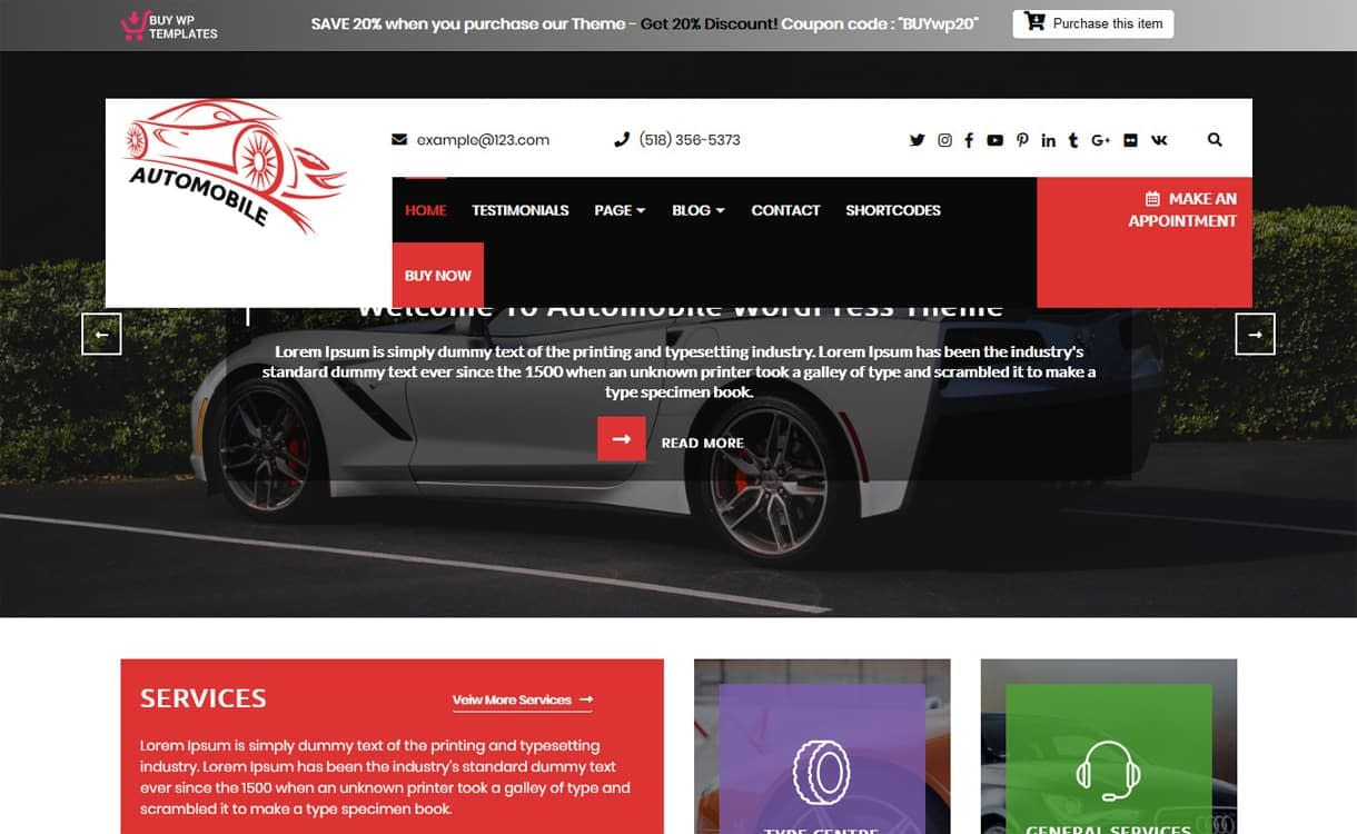 Automobile Car Dealer-Best Free WordPress Themes May 2018