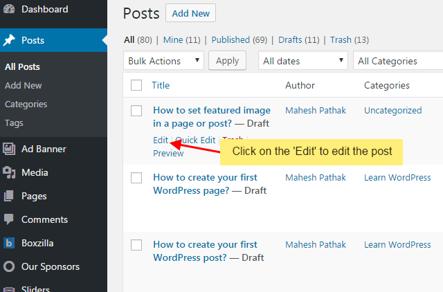 How to set featured image in a page or post?
