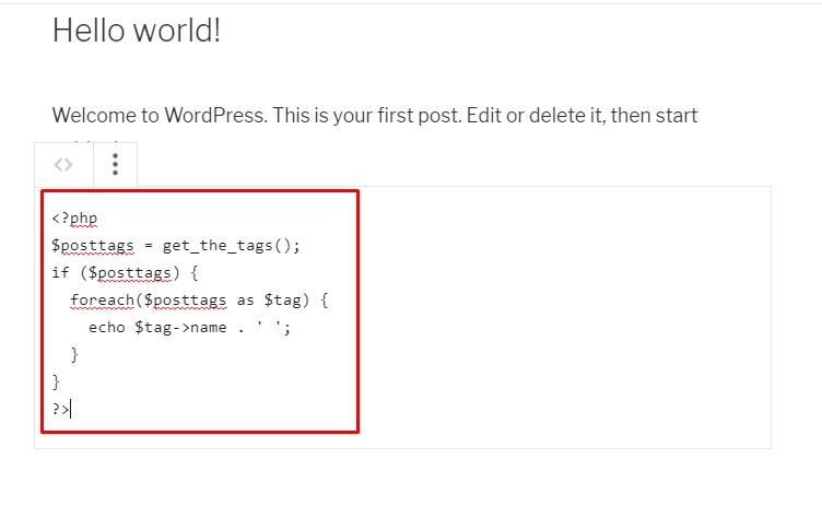 Adding a code in WordPress blog posts