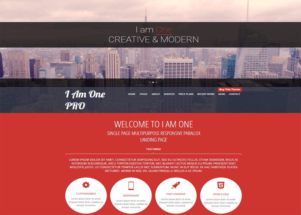 I Am One - WordPress One page Theme