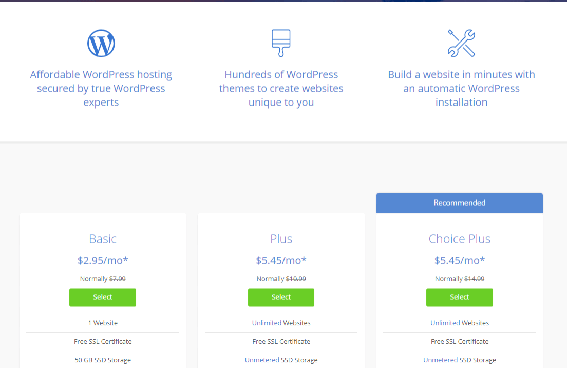 BlueHost - Pricing Plans with Features