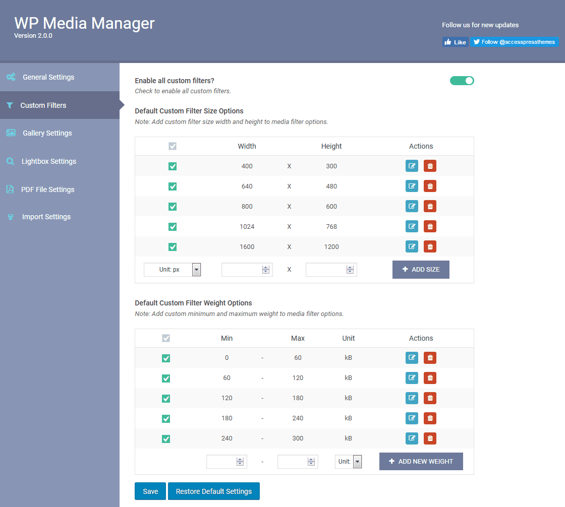 WP Media Manager: Custom Filters