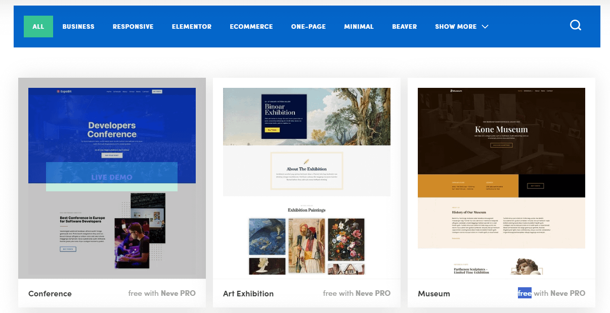 Neve WordPress Theme - Starter Sites