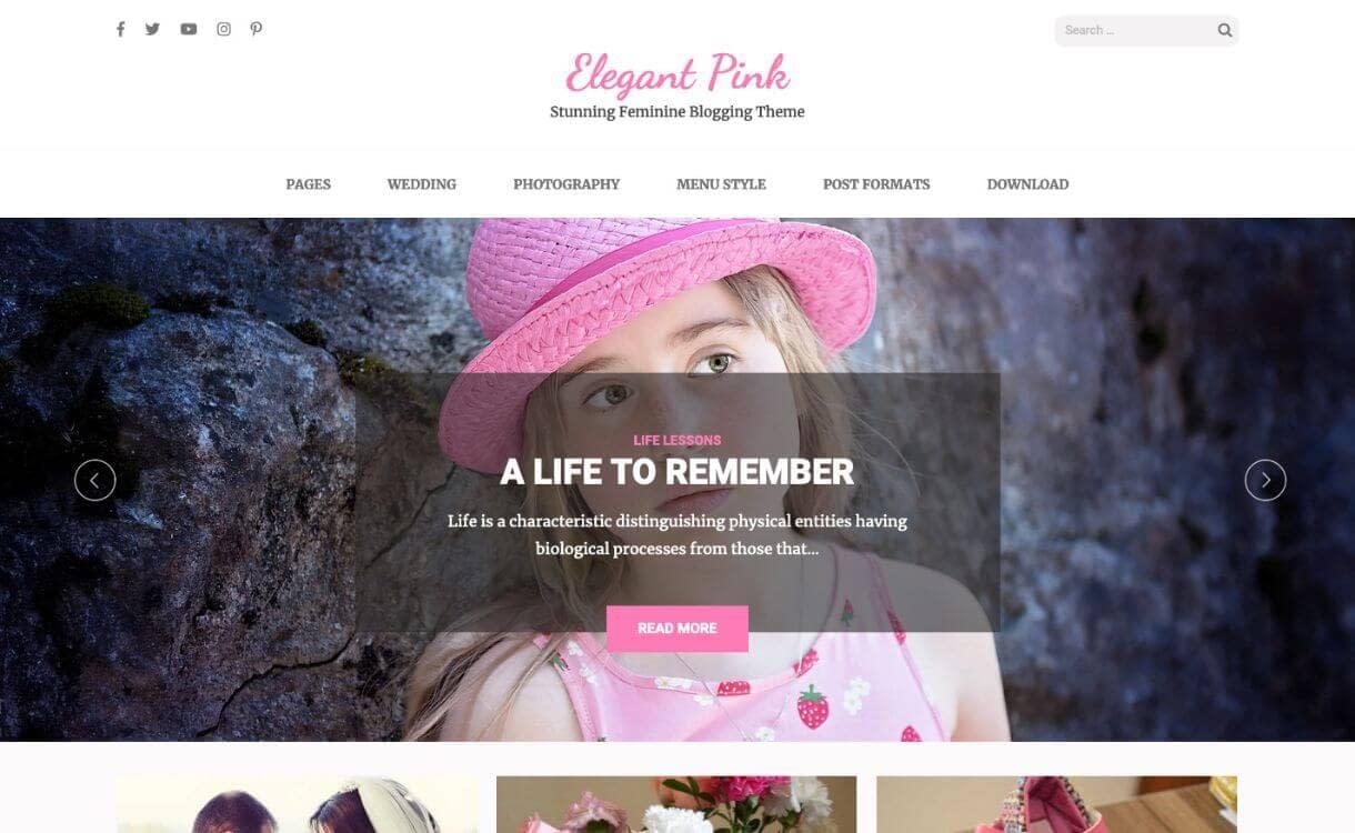 Elegant Pink - Free Responsive WordPress Theme