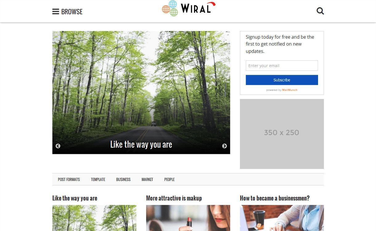 Wiral Lite - Best Free WordPress Theme October 2016
