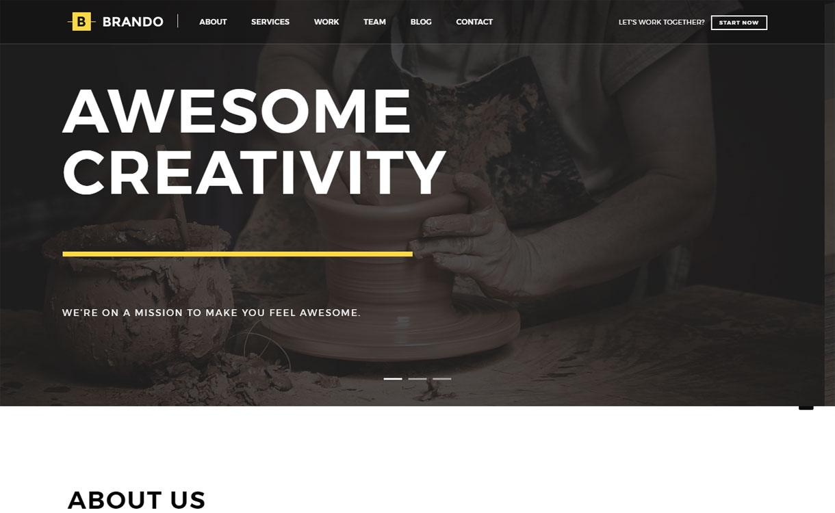Brando - Best Premium WordPress One-Page Themes 2017
