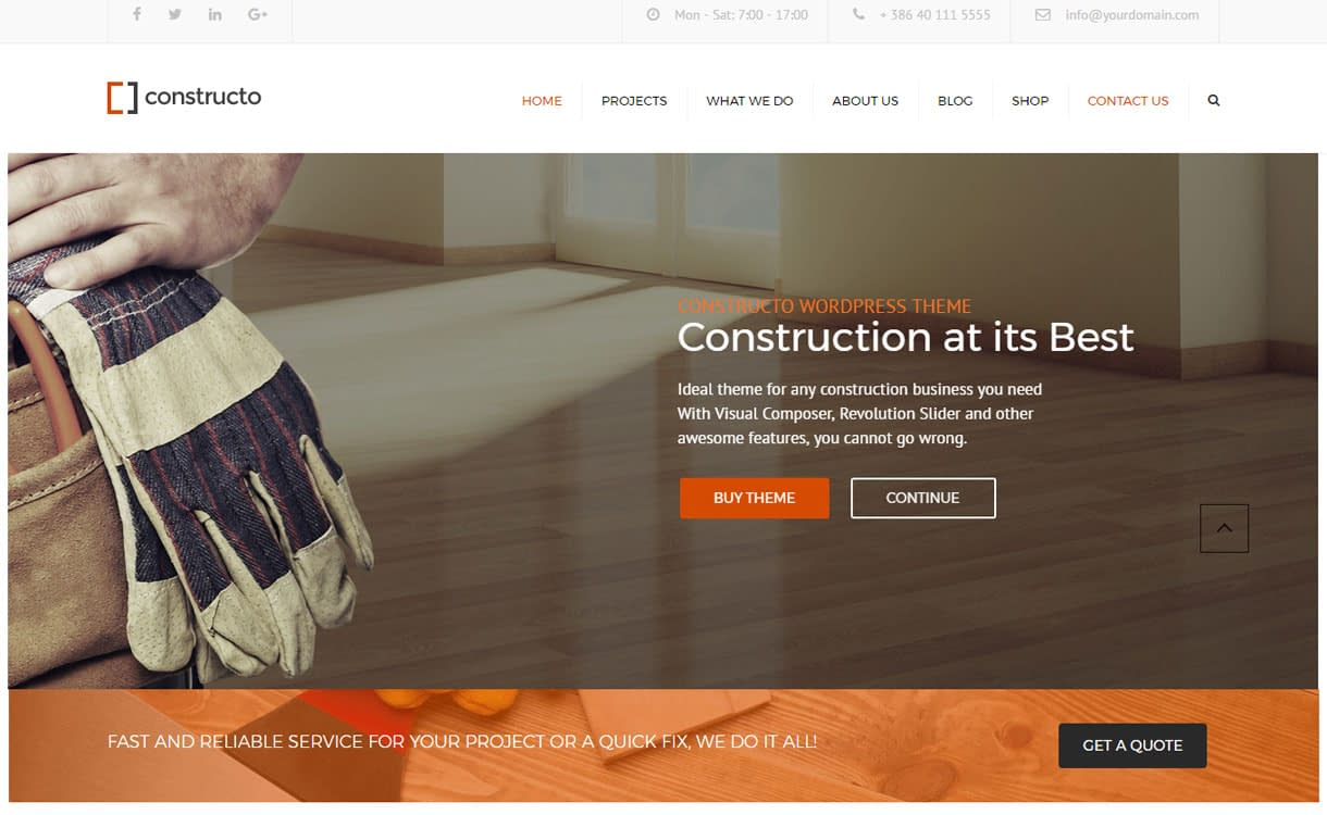 Constructo - Best Premium WordPress Construction Company Themes 2018