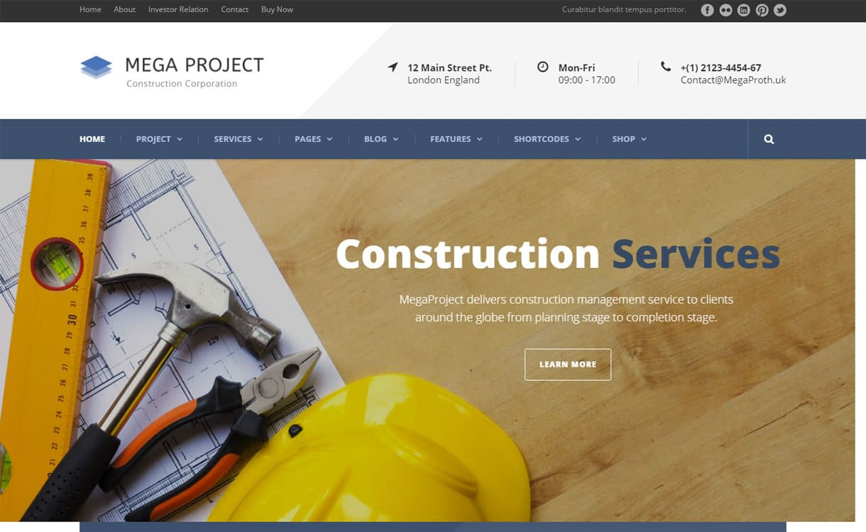 MegaProject - Best Premium WordPress Construction Company Themes 2018