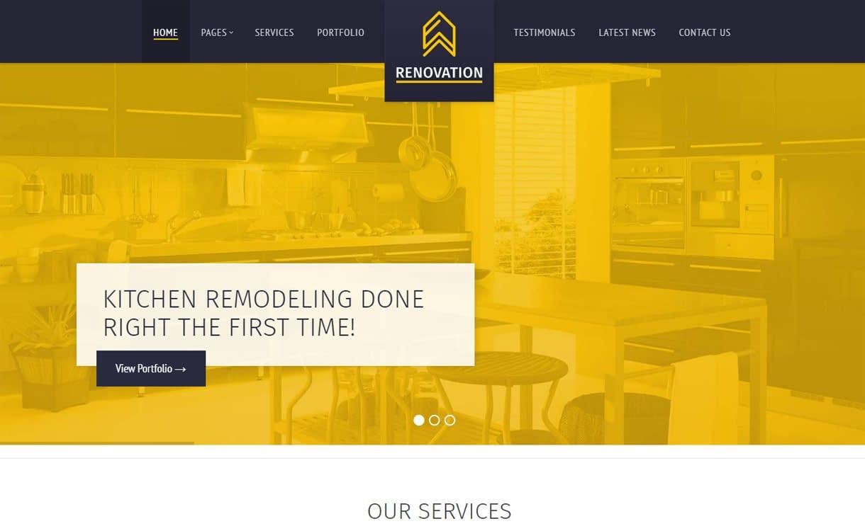 Renovation - Best Premium WordPress Construction Company Themes 2018