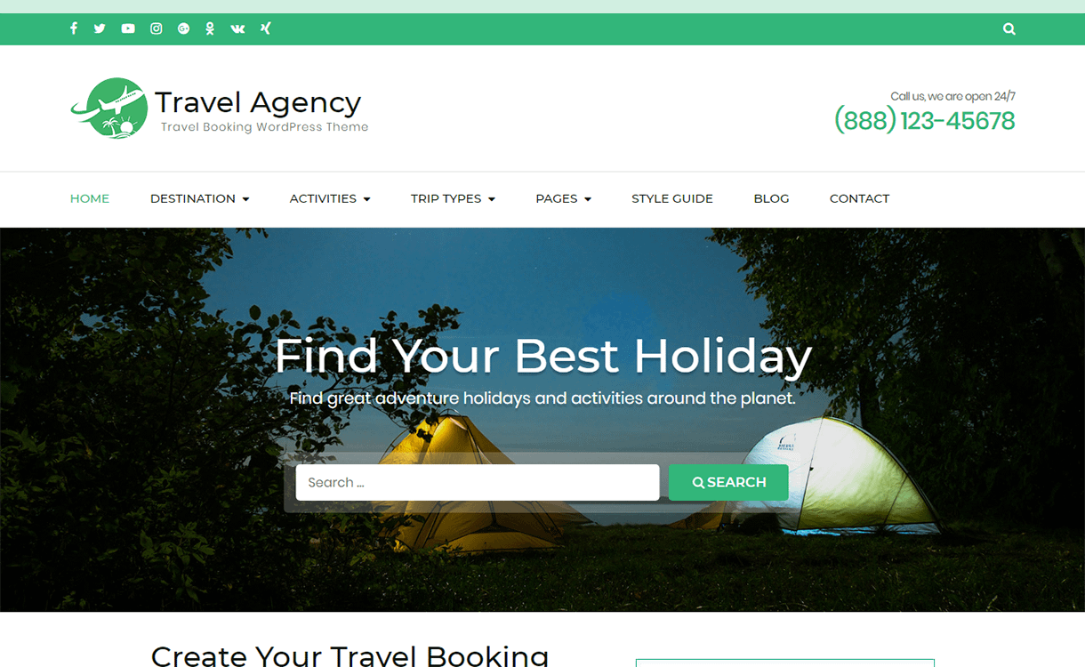 Travel Agency-Best Free WordPress Themes December 2017