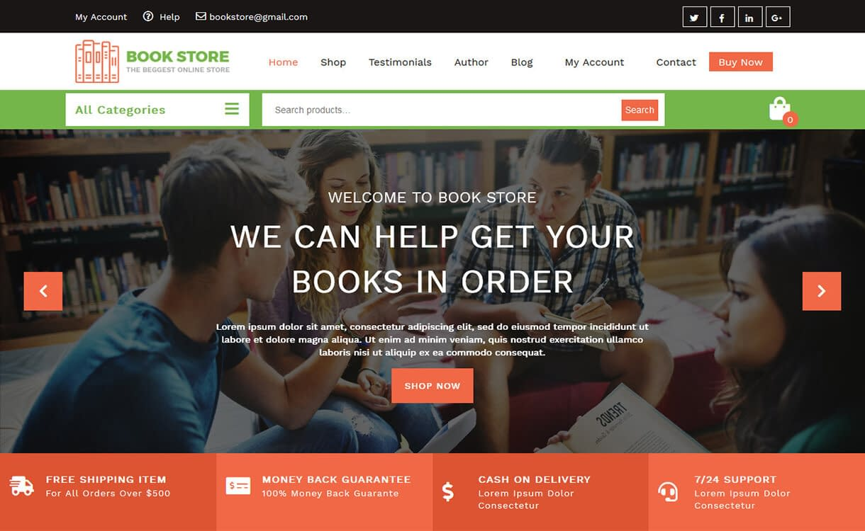 Book Store - Best Free WordPress Themes August