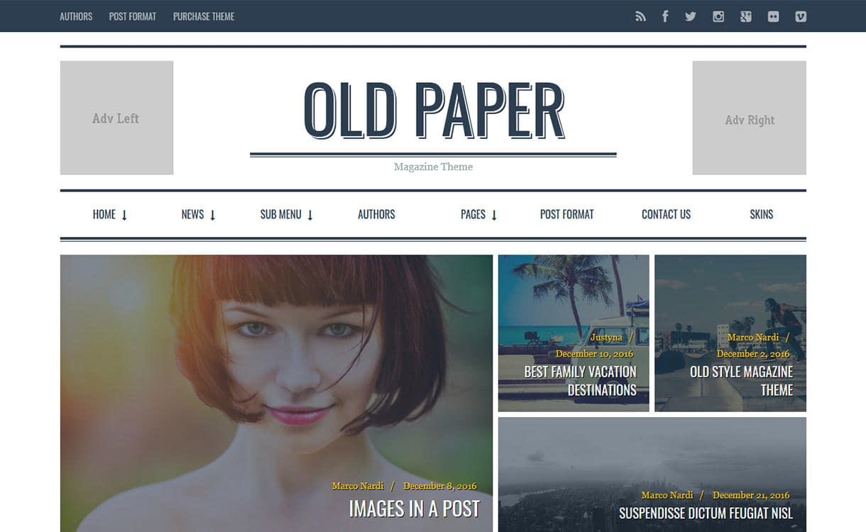 Old Paper Blog WordPress Theme