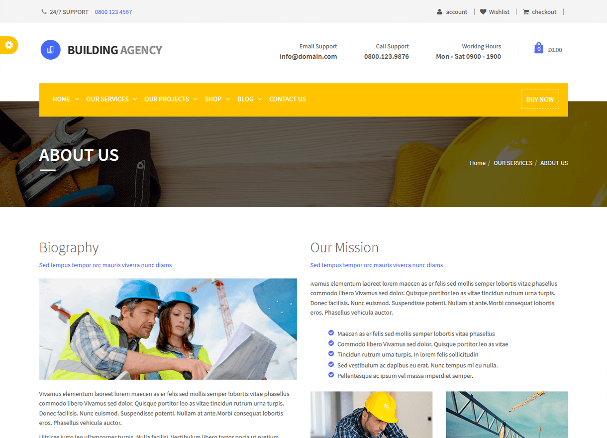 Building Agency-Best Premium WordPress Construction Company Themes 2018