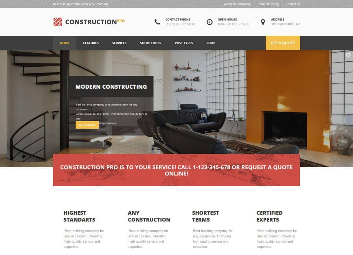 Construction Pro-Best Premium WordPress Construction Company Themes 2018