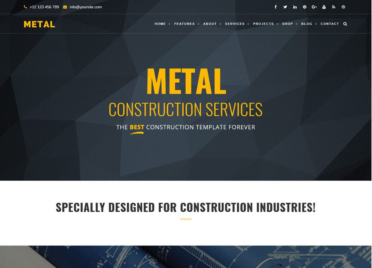 Metal-Best Premium WordPress Construction Company Themes 2018