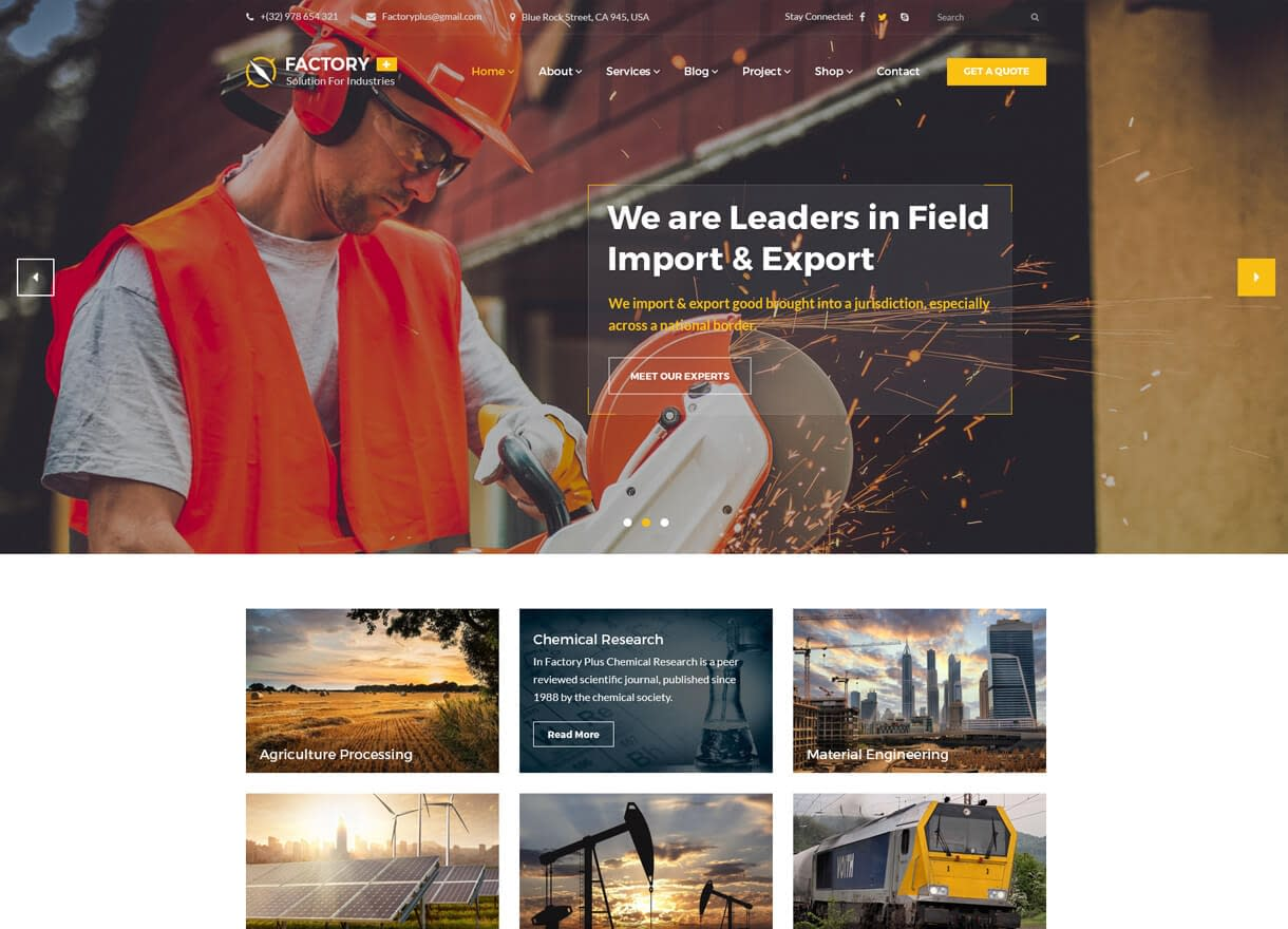 Factory Plus-Best Premium WordPress Construction Company Themes