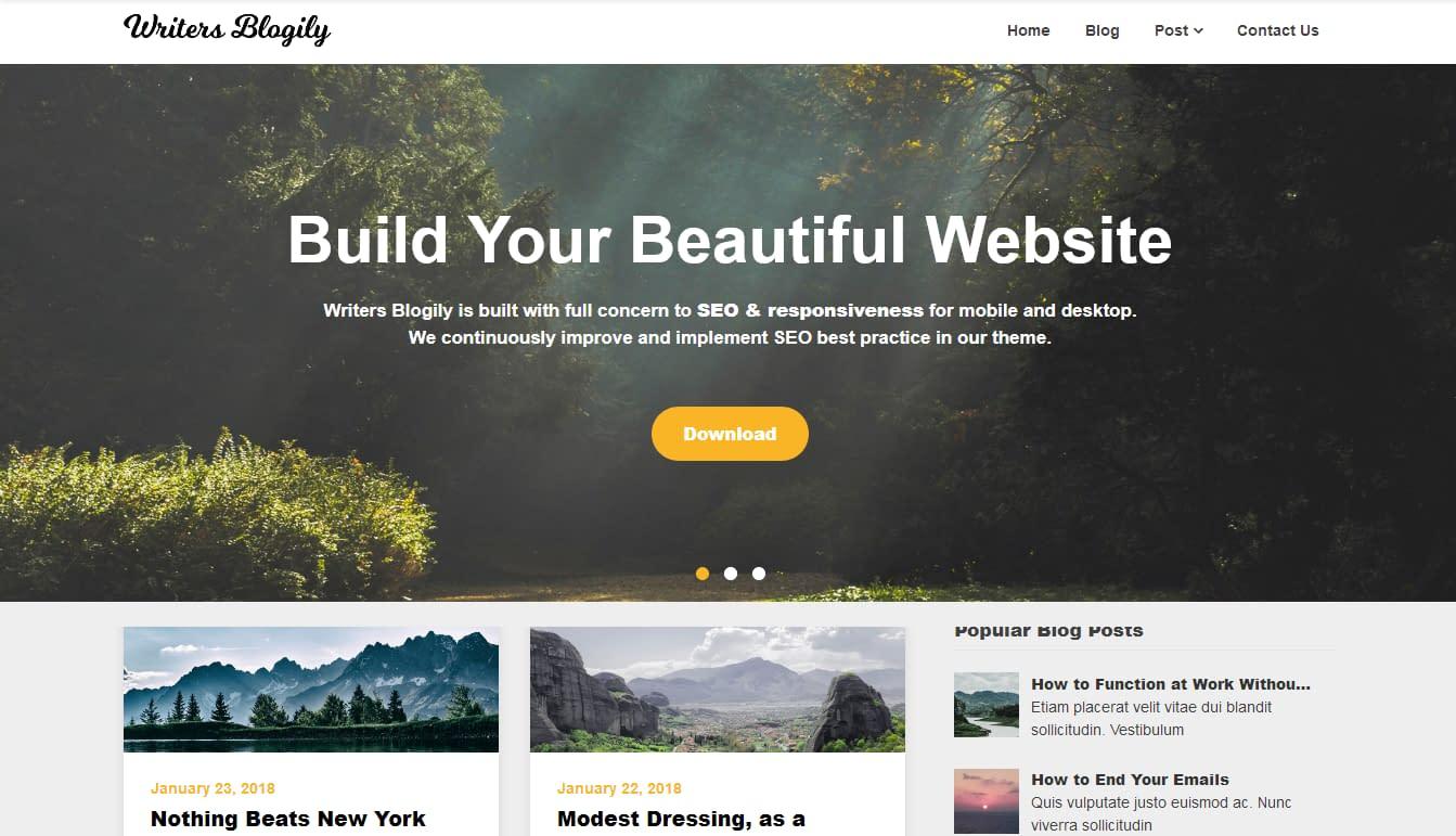 Writers Blogily - Free WordPress Bog Theme
