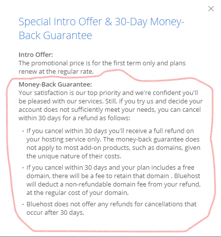 BlueHost - Money Back Policies