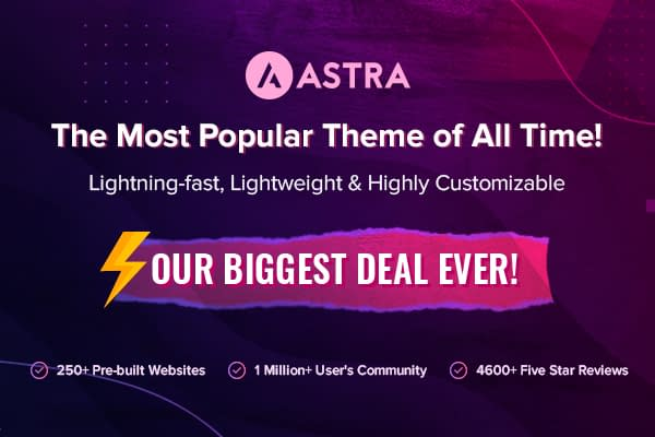 Astra Pro - Black Friday & Cyber Monday Deal